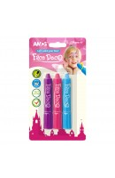 AM FD5B3G: Amos Face Deco 3 Colours - Purple + Pink + Sky Blue